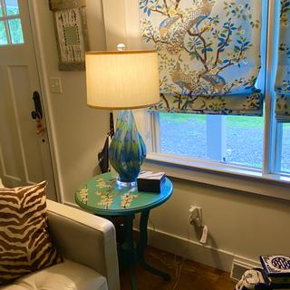 new lamp in my living room fits perfect with the color and style of the room. Adds depth and texture