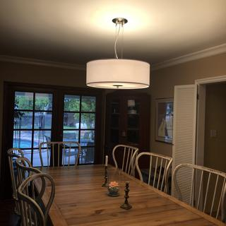 White Four Light 24 inch Wide Pendant Chandelier