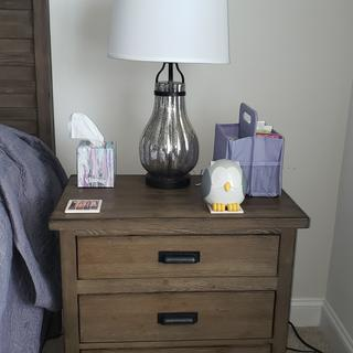 Got 2 lamps for the bedside tables. Very pretty, nice quality, and really tied the room together!