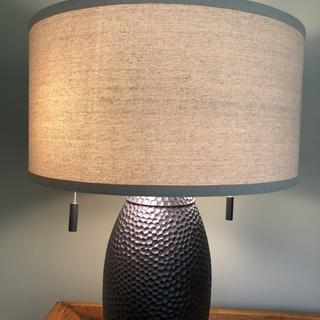 """Noah 32"""" table lamp with 2 75 W bulbs as recommended on the socket."""