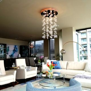 Perfect round glass table to compliment square sectional