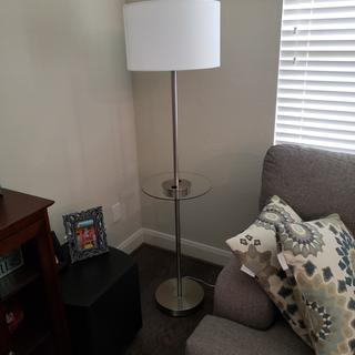 Caper Nickel Tray Table Floor Lamp