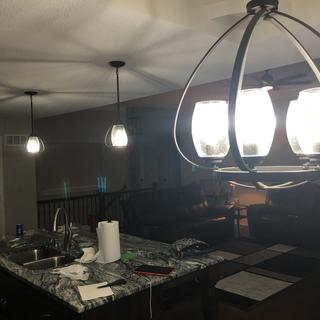 Purchased matching pendant lights with dining chandelier. They look awesome!