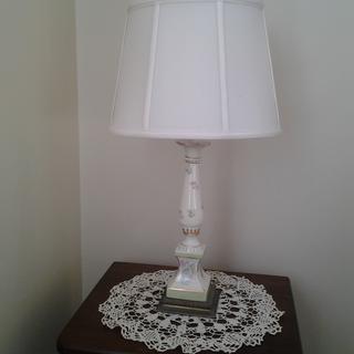 Small lamp, small table; shade fits beautifully.