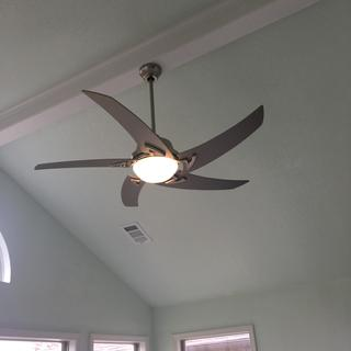 Our den remodel. We love it. I call it my Jetson Fan.