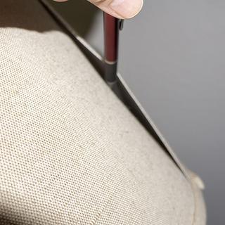 Iron scroll tray floor lamp shade with unglued seam.