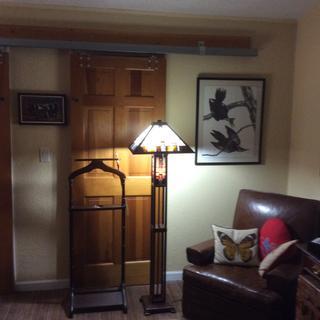 We love this beautiful floor lamp in our bedroom