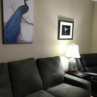 The living room with lamp.