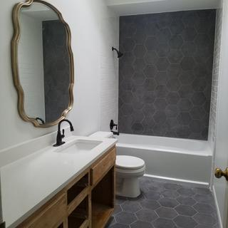 Bathroom unfinished but murror just hung and its just what I wanted!