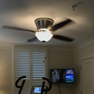 Installed fan, with LED bulbs installed in place of included incandescent bulbs.
