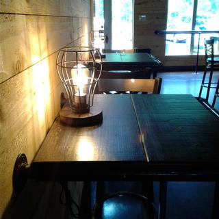 Perfect table lighting for our bar.