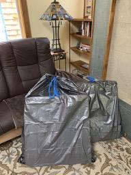 I needed 2 large garbage bags to dispose of the styrofoam.
