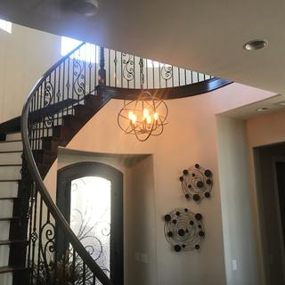 Absolutely stunning pendant chandelier we hung in our foyer