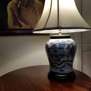 Love this beautiful Asian blue and white ceramic lamp with it's unique depiction of a Chinese scene.
