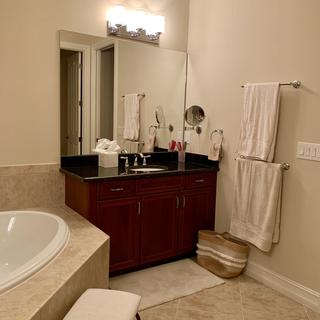 """above my """"hair/make-up"""" vanity of our master bathroom"""