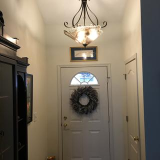New entryway pendant light with the lights on.  I love it!!