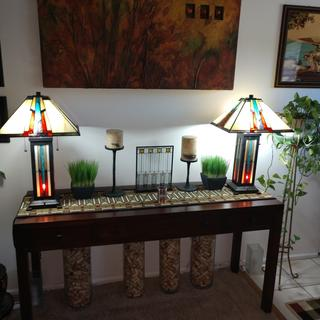 Robert Louis Tiffany Ranier Mission Night Light Table Lamps fit perfect with a prairie interior!