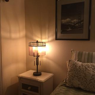 Love this lamp!  Looks great in guest  bedroom!  Edison bulbs are perfect fit for industrial lamp.