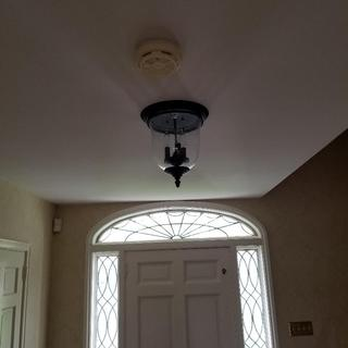 """Front hall placement, 92"""" ceiling. I installed same upstairs where ceiling is 88"""" just clearing head"""
