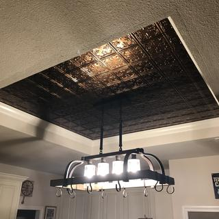 Looks great with copper tile look ceiling.