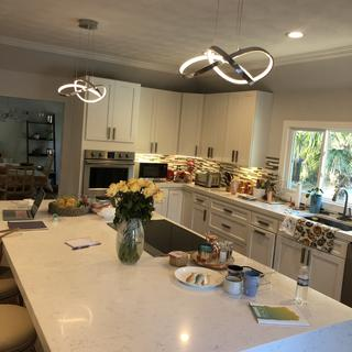 Love these lights!  Bright and modern! I put a dimmer on them and have had so many compliments!