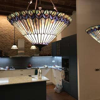 Beautiful close up. Matching, smaller pendants over our kitchen island.
