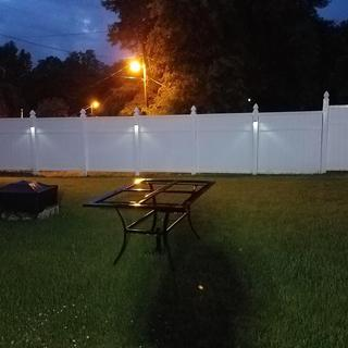 We added these lights from Lamps Plus to our new fence and they really make a great difference!