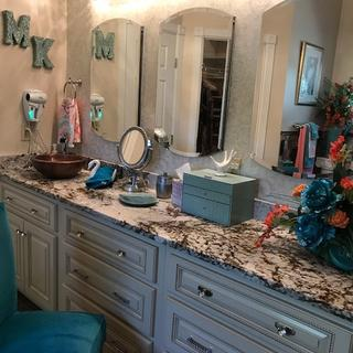 Beautiful over my three medicine cabinet mirrors for a designer look with lots of extra storage