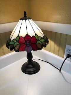 Robert Louis Tiffany Dyane flower table lamp on our kitchen counter.