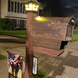 The solar post cap gives a beautiful golden glow at night atop our mailbox post. Love it!