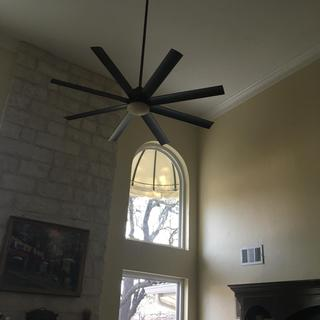 Looks nice in family rooms with 19 foot ceilings and quiet but it wobbles quite a bit