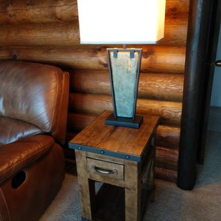 Love the look of this rustic chic lamp in our log home!