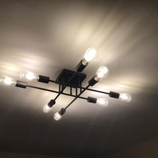 8 bulb fixture in bedroom. Love it