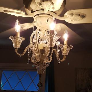 Crystal Bead Antique White Candelabra Ceiling Fan Light
