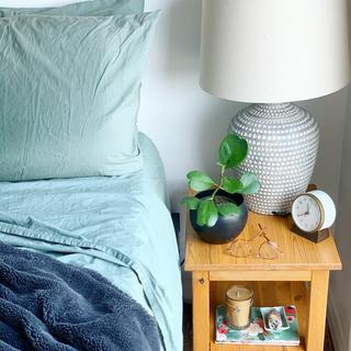 Closer shot of our bedside table.