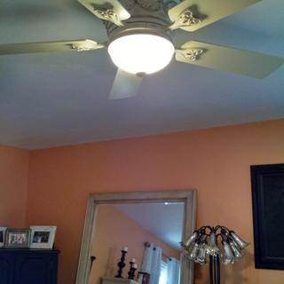 Bedroom ceiling fan - lit.  It has a wall control and it has a dimmer.