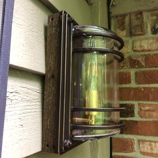 Cedar box to mount light to house