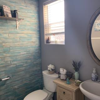 Looks perfect with the updated bathroom.