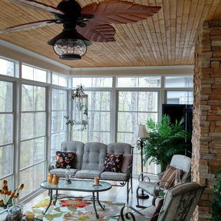 Casa Oak Creek Tropical fan looks great on our remodeled 3-season porch!