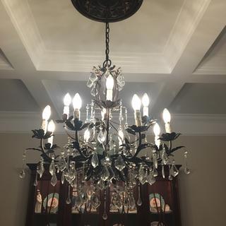 Venezia chandelier with bronze fleur de lis medallion.