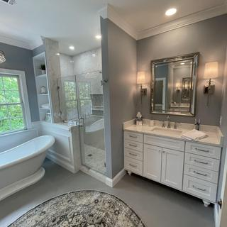 The Uttermost mirror is the perfect compliment to my master bath reno.