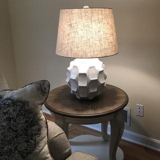 Cosgrove Round White Ceramic Table Lamp