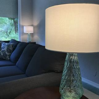 Lovely sea green lamp tied the room together!
