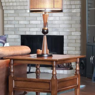 Mid-century table matched with new lamp