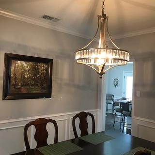 This chandelier is a beautiful Statement Piece in my dining room.