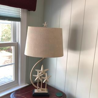 The listing shows a very nice seashell motif print, but it is barely visible with the light off...