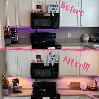 we coupled this lighting with the color changing LED light puck kit to create a pinkish color!