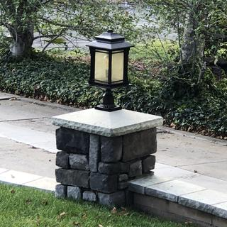 """Great lamp! Seems well built and assembled quickly. The column cap in the photo is 22""""x22"""""""