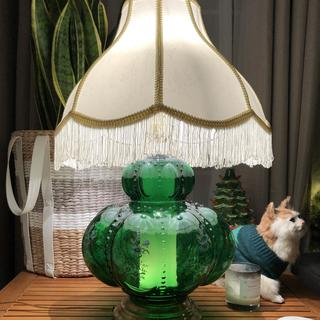 I found this incredible glass lamp base at a thrift store and bought this shade to complete it.