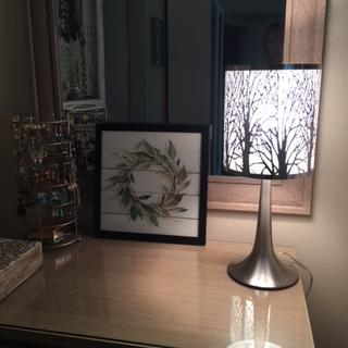 Love our tree shade lamp! Perfect bedside table lamp, not too bright, just enough light for reading.